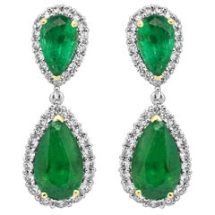 Emerald Pear White Diamond Round Halo Two-Color Gold Dangle Drop Fashion Earring