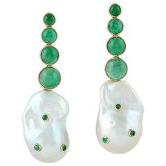 Emerald Pearl 18 Karat Gold Earrings