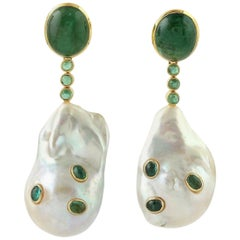 Emerald Pearl 18 Karat Gold Earrings