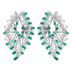 Emerald, Pearl and Diamond Sculptural Earrings