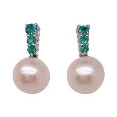 Emerald Pearl Drop Earrings w 6 Green Emeralds and White Pearl Dangle Earrings