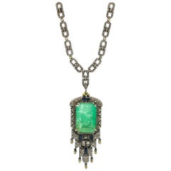 Emerald Pendant 68.95 Carat with Diamonds 15.82 Carat and Sapphires 1.50 Carat