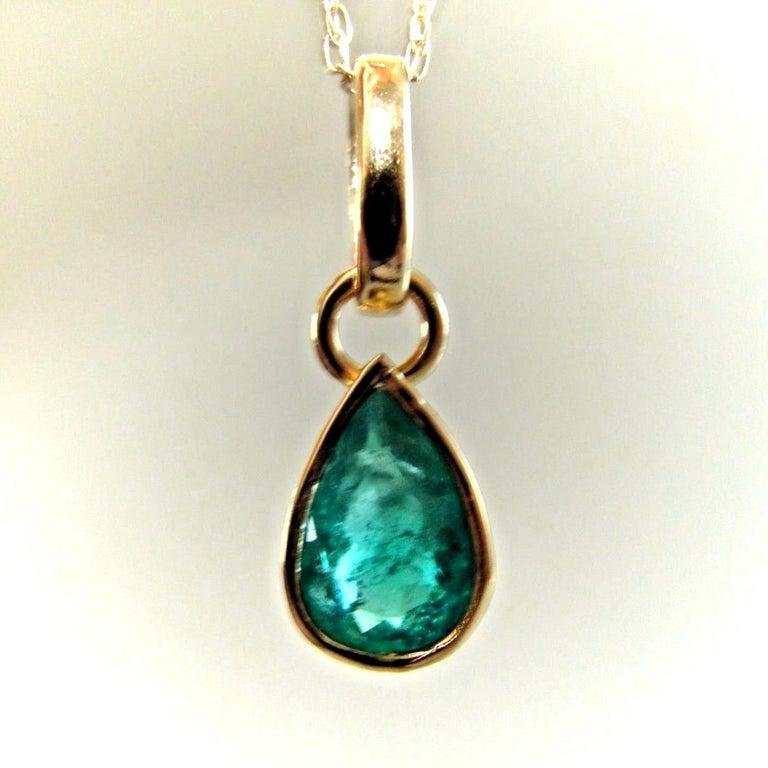Contemporary Emerald Pendant Charm 18 Karat Yellow Gold