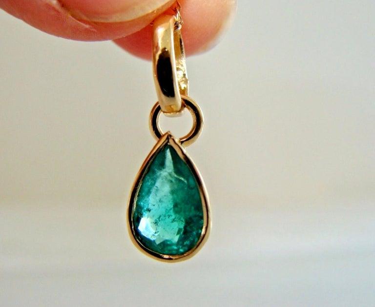 Women's Emerald Pendant Charm 18 Karat Yellow Gold