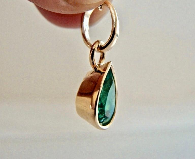 Emerald Pendant Charm 18 Karat Yellow Gold 1