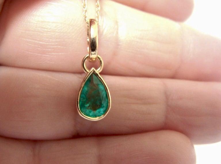 Emerald Pendant Charm 18 Karat Yellow Gold 2