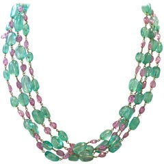 Emerald Pink Sapphire Multi-Strand 18 Karat Gold Necklace