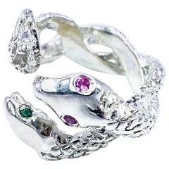 Emerald Pink Sapphire Silver Snake Statement Cocktail Ring J Dauphin