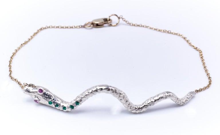 Emerald Pink Sapphire Snake Bracelet Sterling Silver Gold Tone Chain J Dauphin In New Condition For Sale In Los Angeles, CA