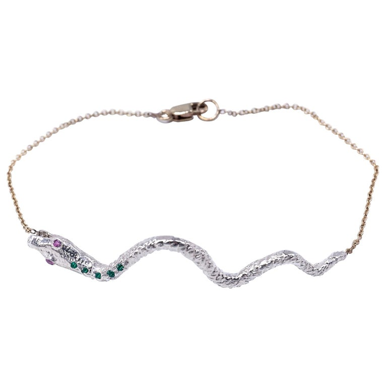 Emerald Pink Sapphire Snake Bracelet Sterling Silver Gold Tone Chain J Dauphin For Sale