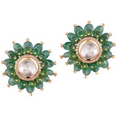 Emerald Polki White Diamond 18 Karat Yellow Gold Stud Earrings