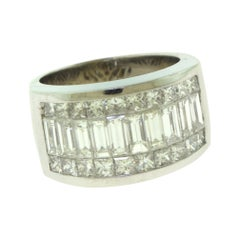 Emerald/Princess Cut Diamond White Gold Eternity Band Ring