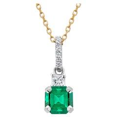 Emerald Princess Diamond and Diamond Bail Gold Drop Pendant Necklace