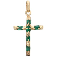 Emerald Religious Cross Pendant Vintage 18 Karat Yellow Gold Estate Fine Jewelry