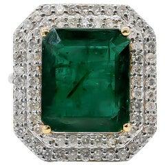 Emerald Ring 10.50 Carat with Diamonds 1.45 Carat G/SI 18 Karat Gold