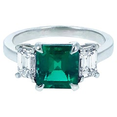 1.85 Carat Emerald Diamond and Platinum Ring
