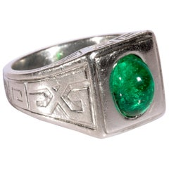 Emerald Ring in Platinum by Tiffany & Co. Archaeological Revival, circa 1920s