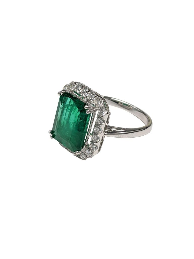 Emerald, Emerald Cut, White Diamonds, 18k White Gold
