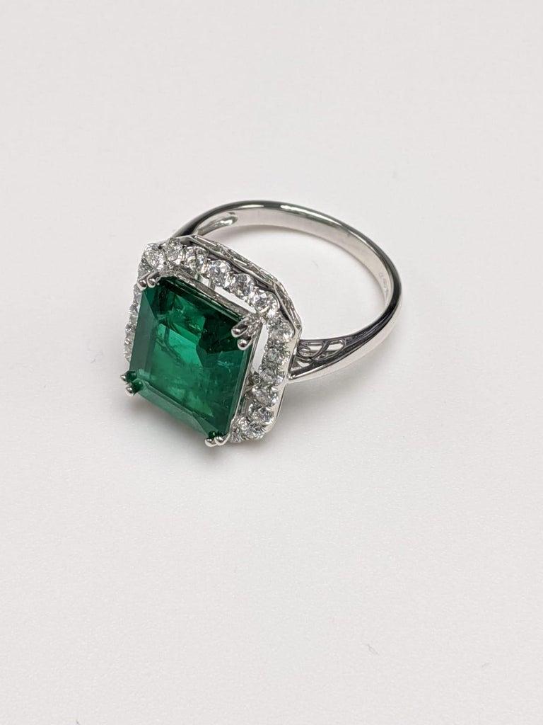 Women's Emerald Ring White Diamond 'Emerald Cut' For Sale