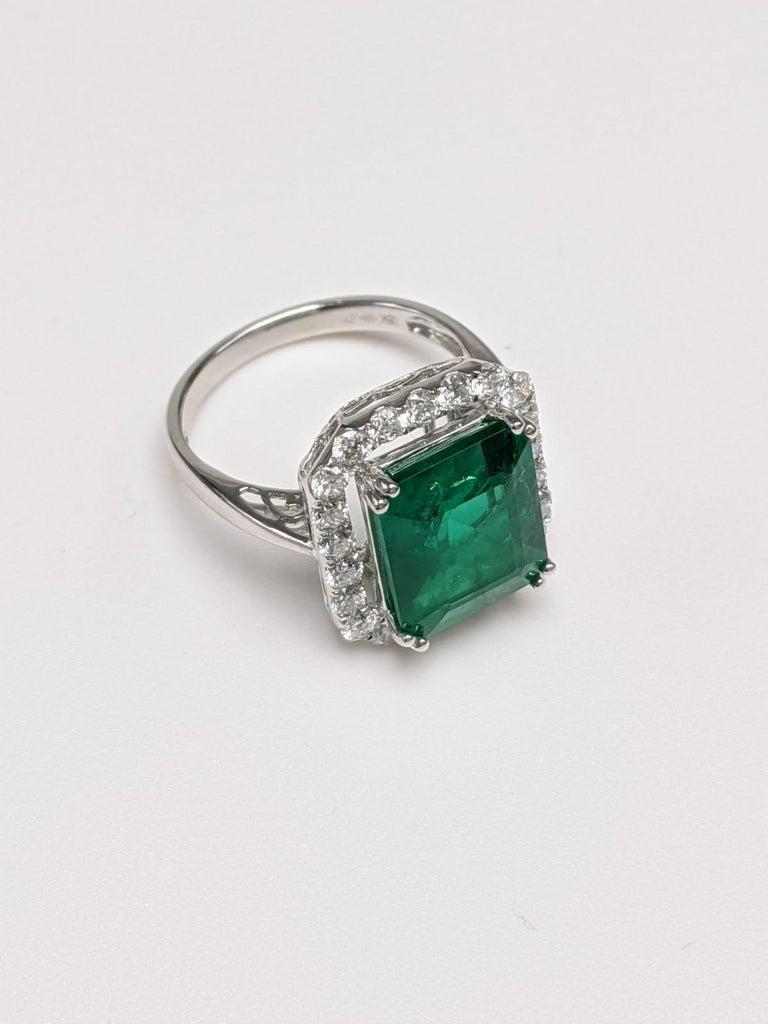 Emerald Ring White Diamond 'Emerald Cut' For Sale 1