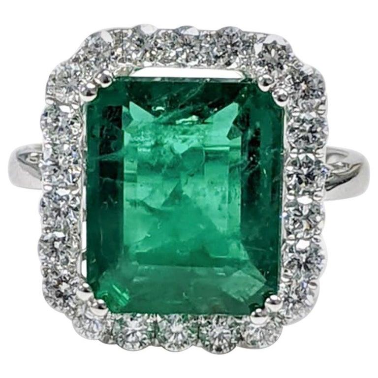 Emerald Ring White Diamond 'Emerald Cut' For Sale