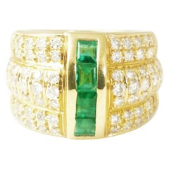 Emerald Ring with Diamonds in 18 Karat a Statement Ring with Contemporary Design