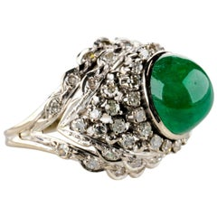 Emerald Ring with Diamonds Retro Era