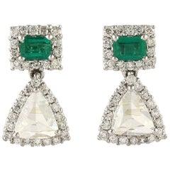 Emerald Rose Cut Diamond 18 Karat Gold Earrings