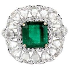 Emerald Rose Cut Diamond 18 Karat Gold Ring
