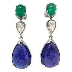 Emerald, Rose Cut Diamond and Tanzanite Chandelier Earrings in 18 Karat Gold