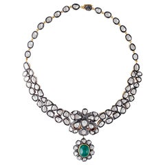 Emerald Rose Cut Diamond Antique Style Necklace