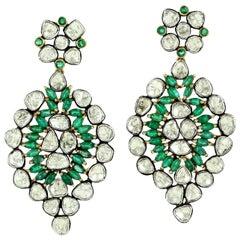 9.89 carats Rose Cut Diamond Emerald Earrings