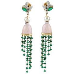 Emerald Rose Quartz Pearl 18 Karat Gold Diamond Earrings