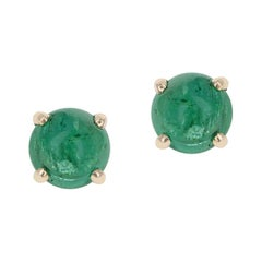 Emerald Round Cabochon Stud Earrings Made in 14 Karat Yellow Gold