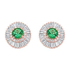 Emerald Round Diamond Double Halo Gold Ballerina Style Dangle Stud Earring