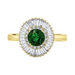 Emerald Round Diamond Halo Gold Art Deco Style Ballerina Bridal Cocktail Ring