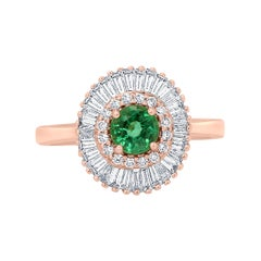 Emerald Round Diamond Halo Gold Art Deco Style Ballerina Bridal Cocktail Ring