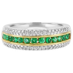 Emerald Round Diamond Three-Row Two-Color Gold Fashion Cocktail Band Ring