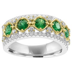 Emerald Round Diamond Three-Row Two-Color Gold Cocktail Band Ring