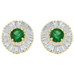 Emerald Round White Diamond Double Halo Gold Ballerina Style Dangle Stud Earring