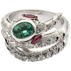 Emerald, Rubies and Diamonds White Gold Snake Ring Made in Italy