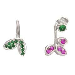 Emerald Rubies White Gold Stud Earrings