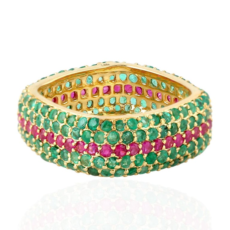 Contemporary Emerald Ruby 18 Karat Gold Eternity Ring For Sale