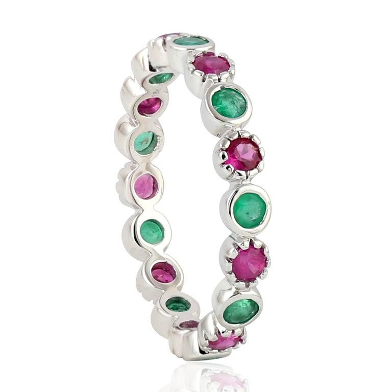 Single Cut Emerald Ruby 18 Karat Gold Eternity Ring For Sale