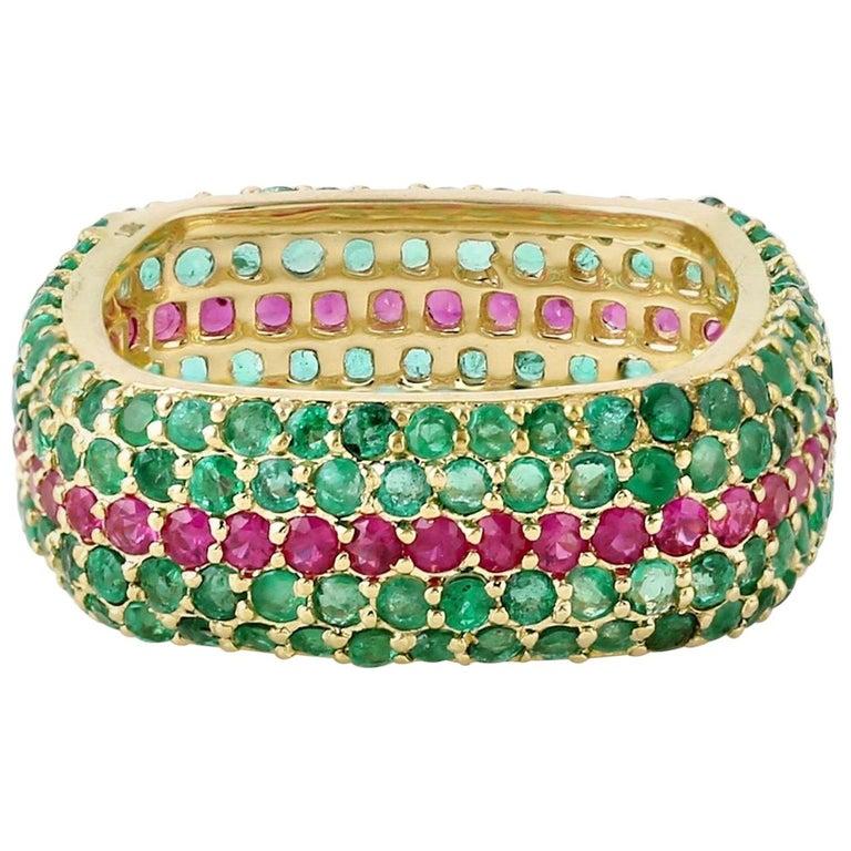 Emerald Ruby 18 Karat Gold Eternity Ring For Sale