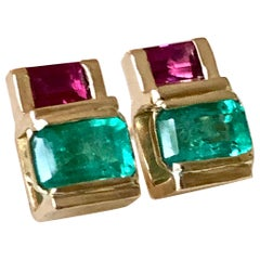 Emerald Ruby 18 Karat Yellow Gold Earrings
