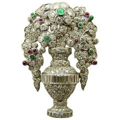 Emerald Ruby and Diamond Art Deco Pin by LaCloche