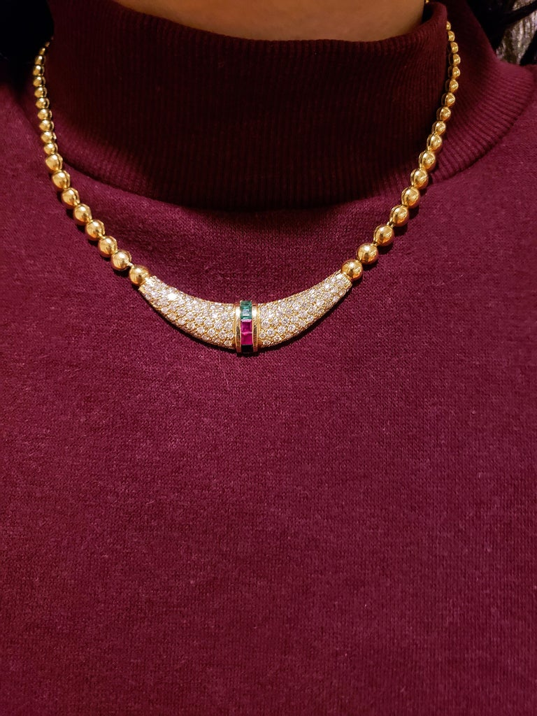 Emerald, Ruby and Diamond Beaded Pendant Necklace For Sale 1