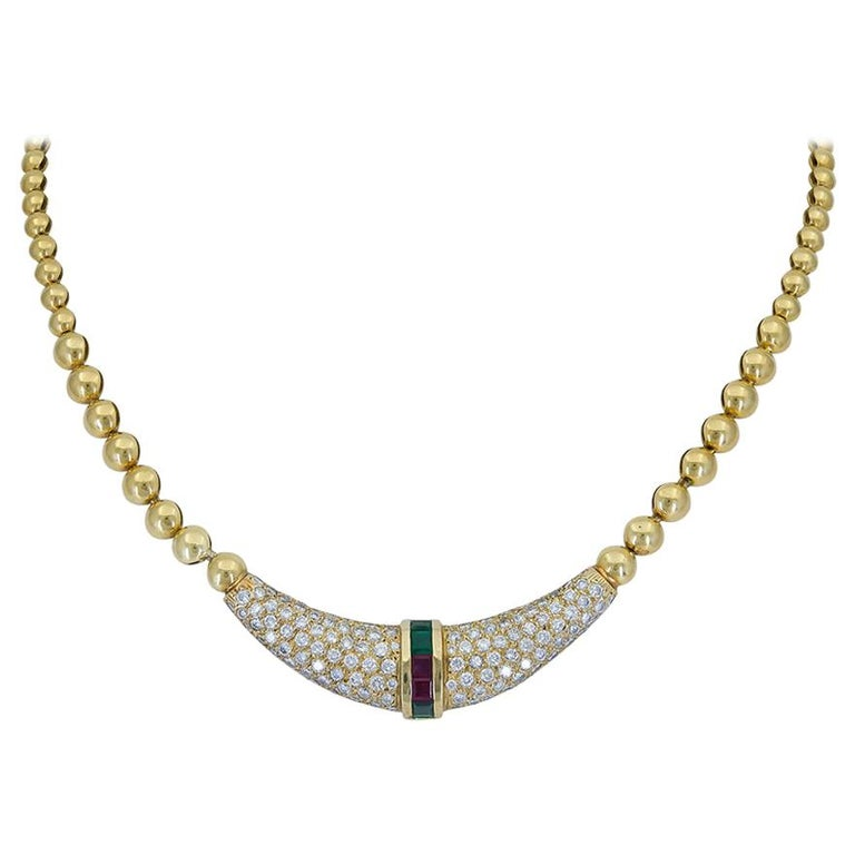 Emerald, Ruby and Diamond Beaded Pendant Necklace For Sale