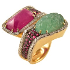 Emerald, Ruby and Diamond Gold Ring Tony Duquette Fine Jewelry